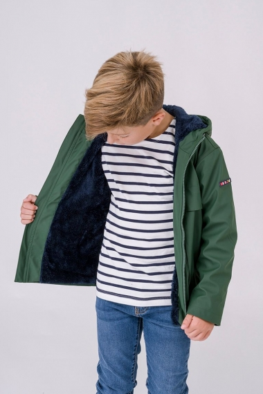 Raincoat with shearling lining