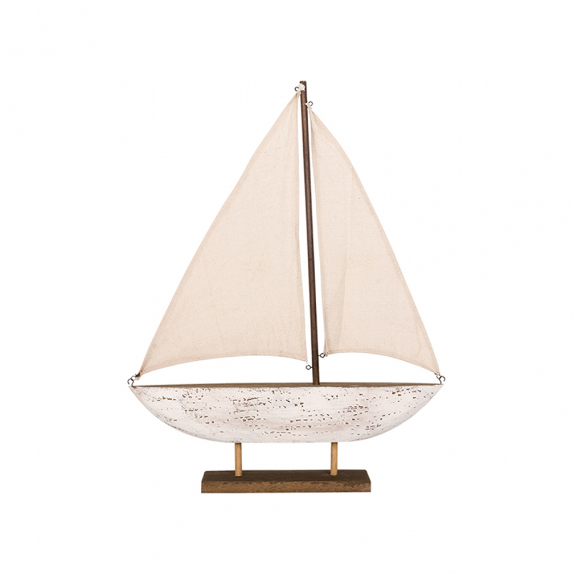 Wooden sailboat with base