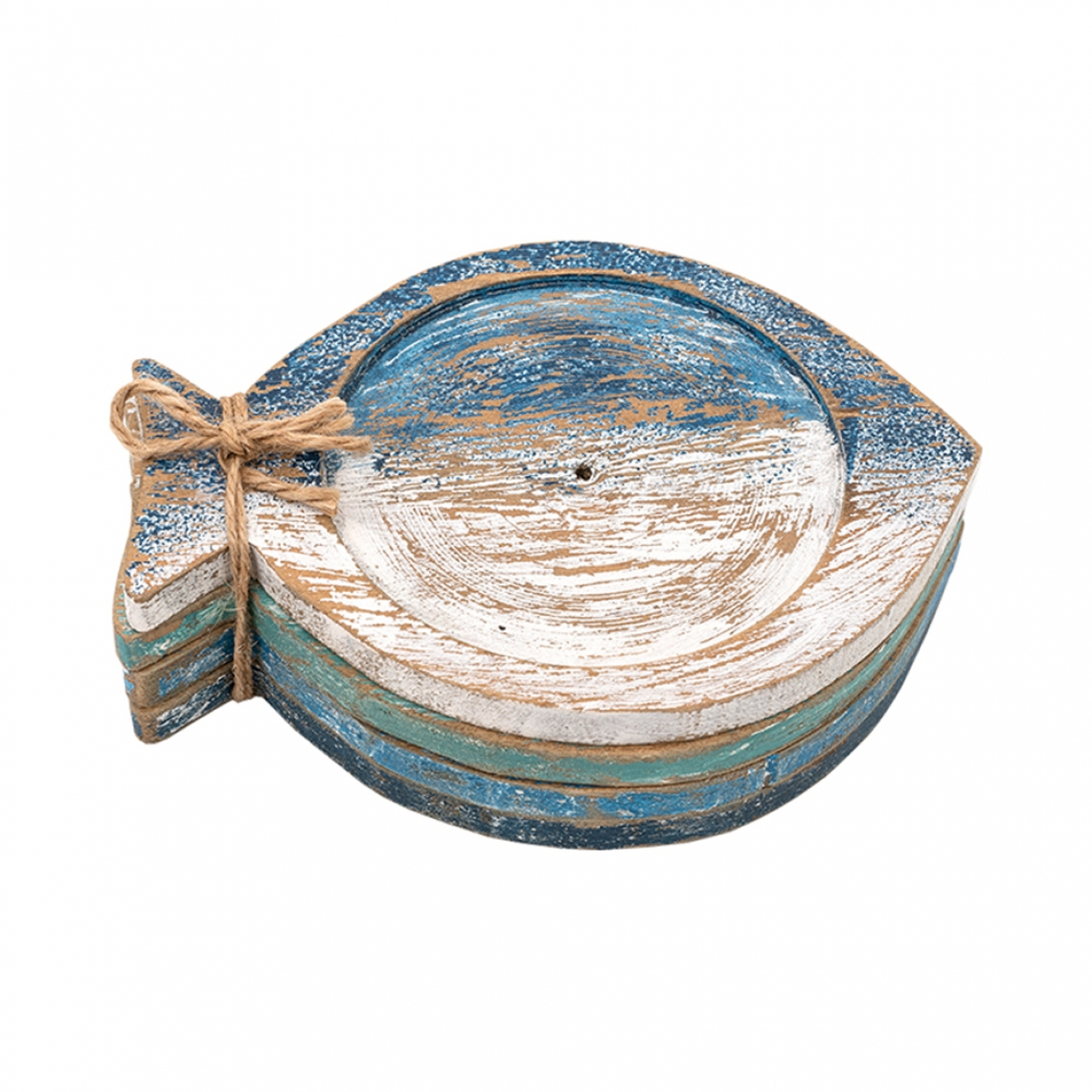 Set of 4 wooden fish coasters