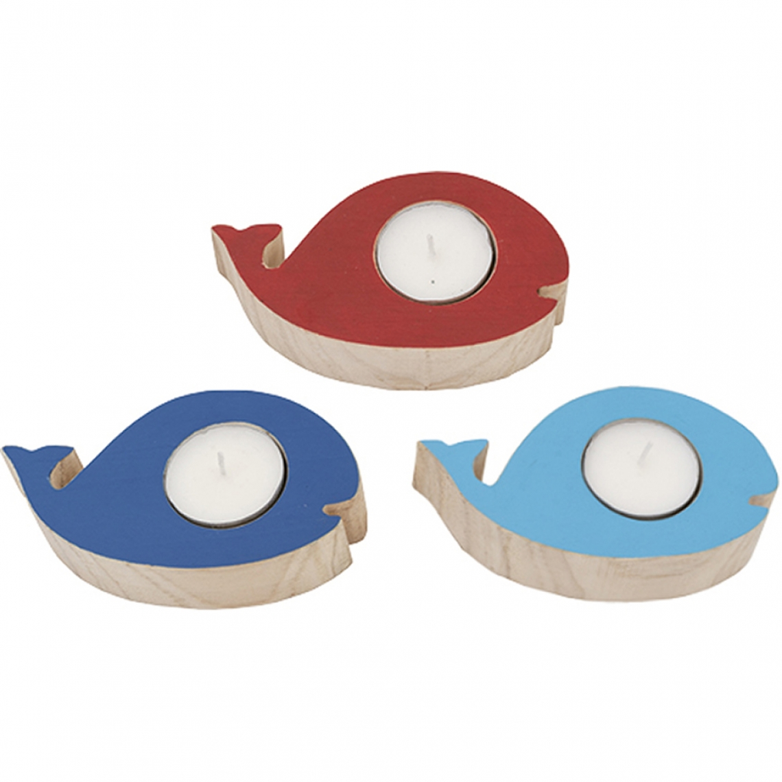 Set of 3 whale candle holders